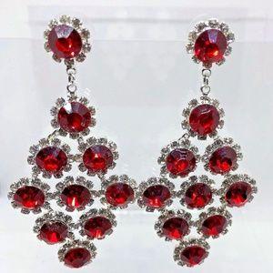 RedGlass & Rhinestones Chandelier Pierced Earrings